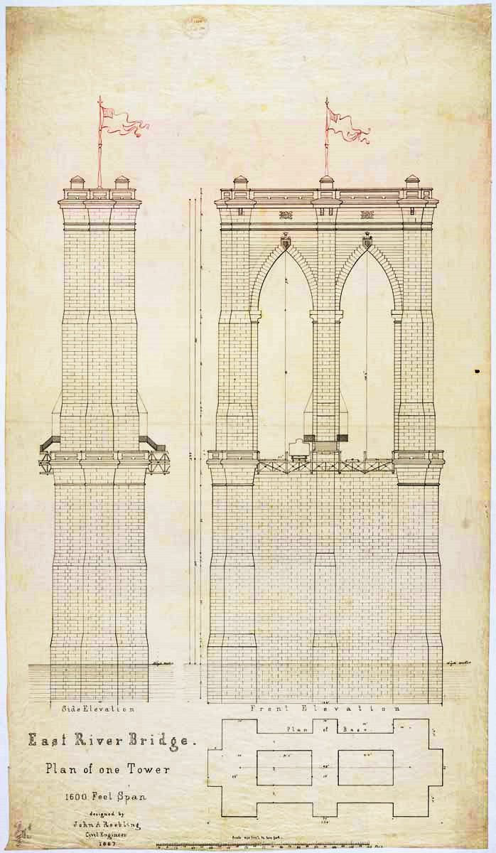 Brooklyn Bridge Plan Of One Tower For The East River Bridge