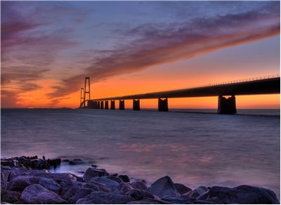 Picture Of Great Belt Bridge At Sunset