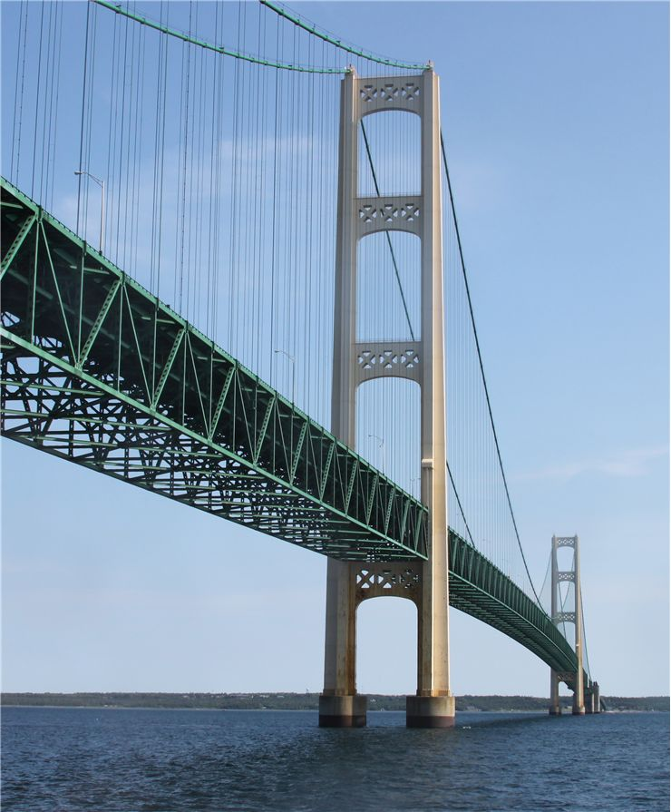 Picture Of Mackinaw Suspension Bridge Over Lake Michigan