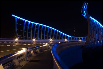 Picture Of Neon Lit Bridge In Dubai