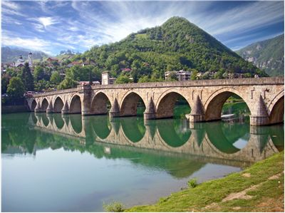 Picture Of Old Bridge Over Drina In Visegrad Bosnia