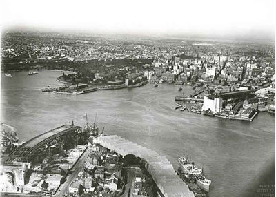 Sydney Harbour Bridge Historic Aerial View