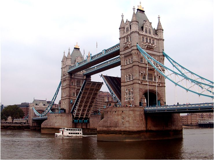 Picture Of Tower Bridge Opens To Allow Ships Passing